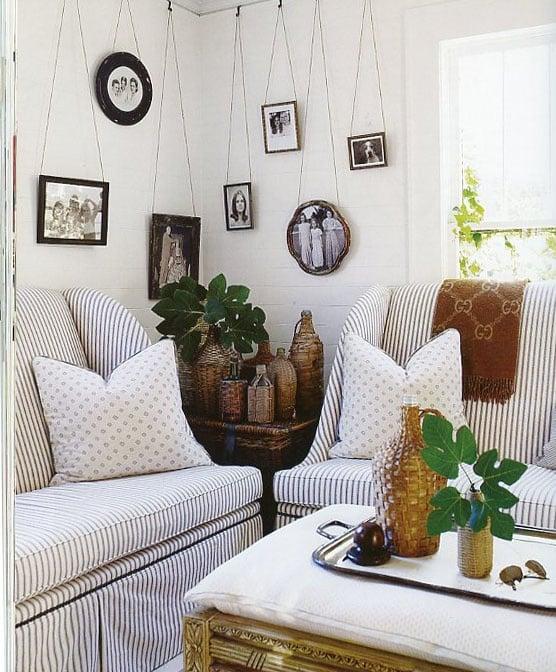Ticking fabric sofas