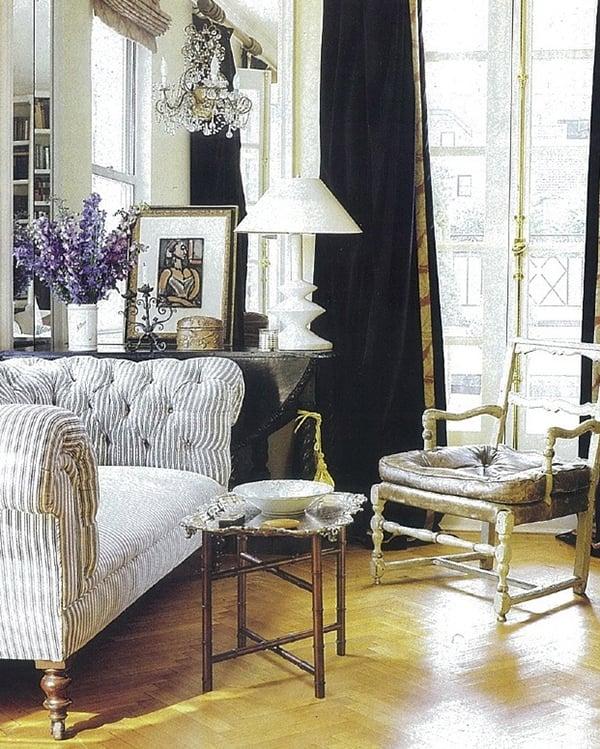 Ticking fabric tufted sofa