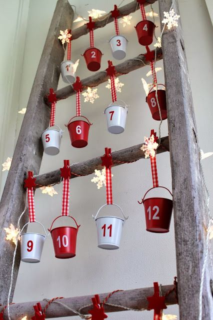 vintage ladder advent calendar