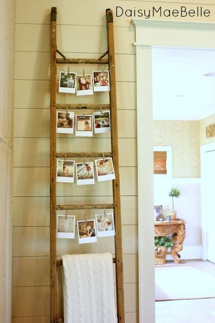 Vintage Ladder Photo Display