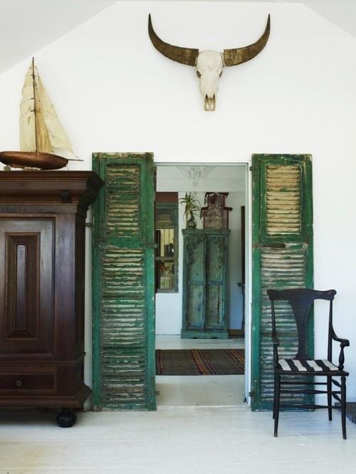 TIDBITS & TWINE Shutters Flanking Door