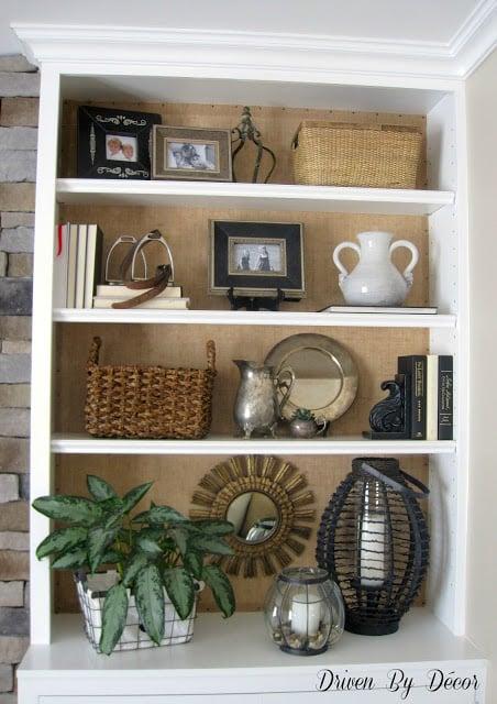 Burlap Back Bookcase