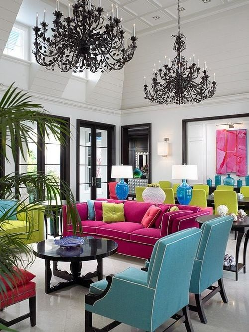 Bold living room with colorful furniture and black trim