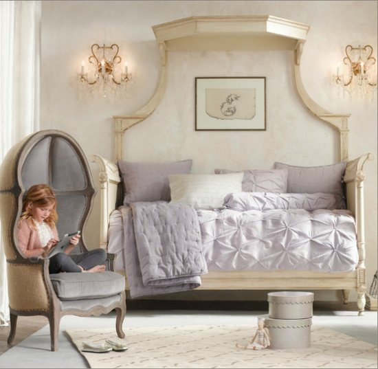 Toddler's room with French balloon Versailles chair add canopy bed purple bedding
