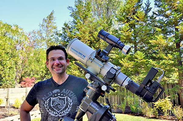 {Hubby and his telescope with CCD camera attached}