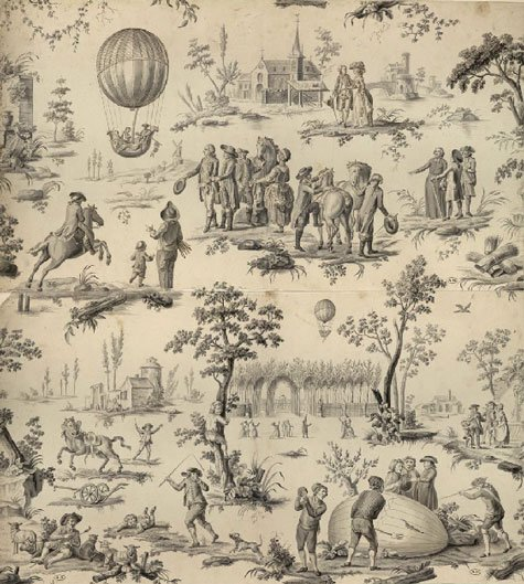 {le ballon de gonesse.  This image was created shortly after the successful ascent of the first manned hot air balloon in 1793.}