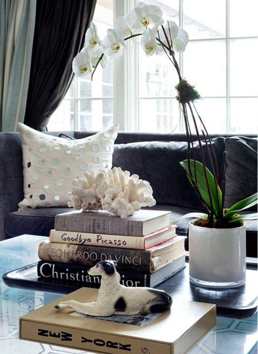 Coffee table with a stack of books with seashell on top and an orchid
