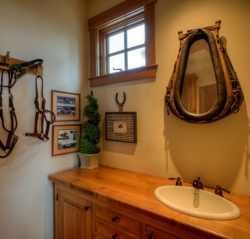western themed powder room via dan nelson