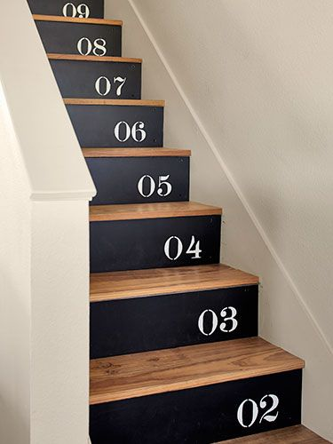 Black and White Numbered Risers