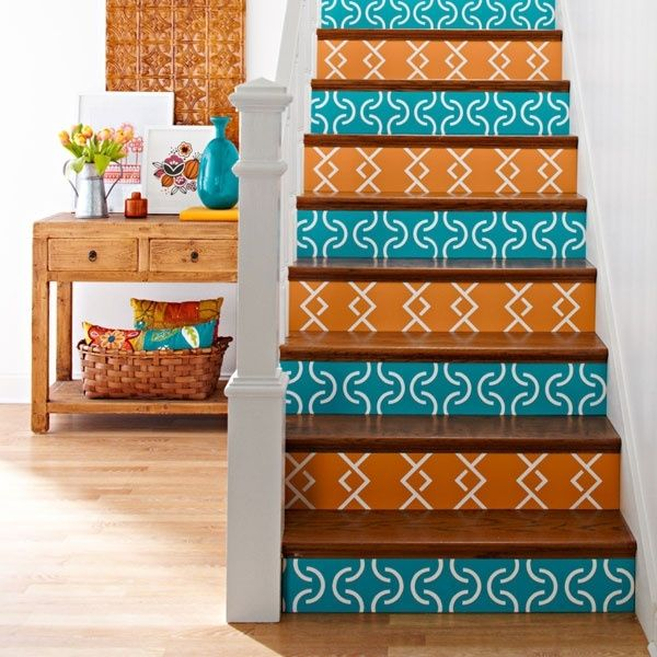 Blue Orange Stenciled Risers