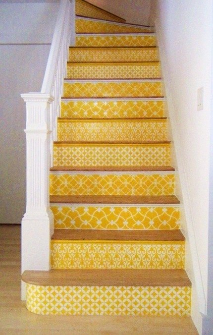 Yellow Stenciled Risers