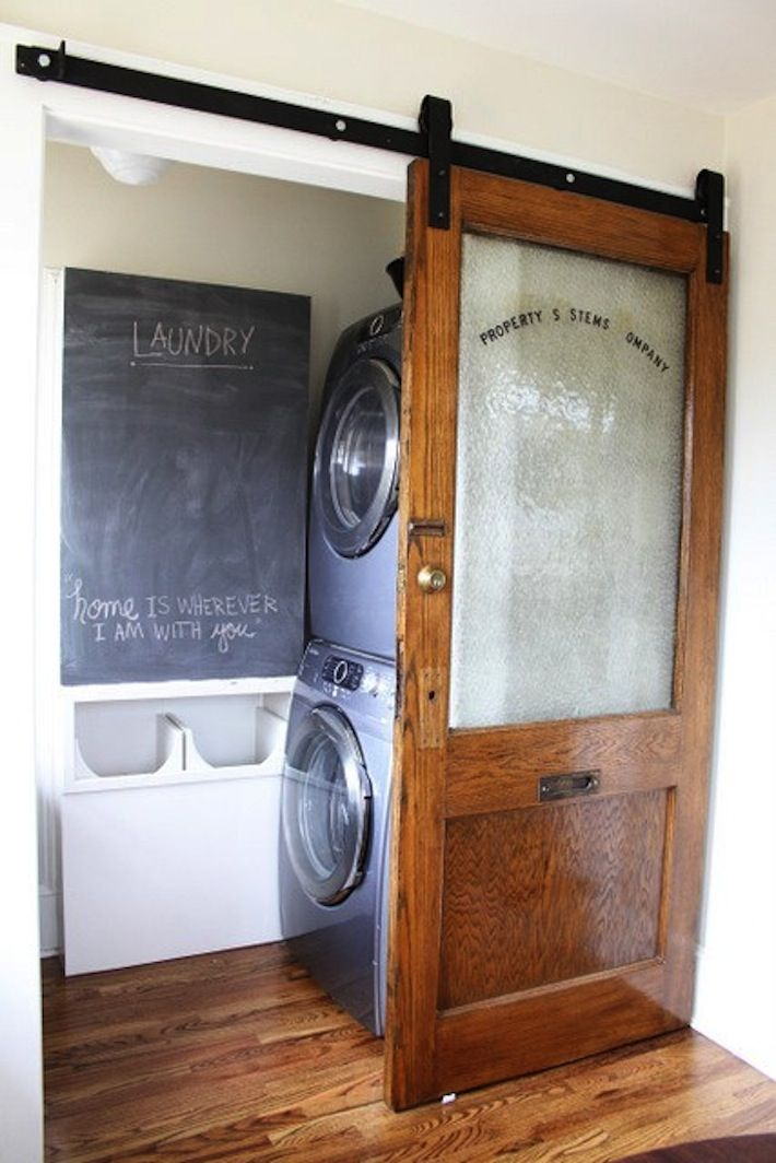 TIDBITS TWINE Laundry Barn Door Interior Doors: From Drab to Dramatic!