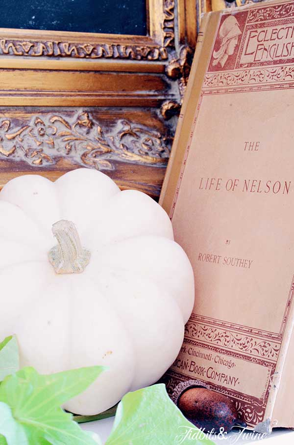 TIDBITS-&-TWINE-Fall-Mantel-Book-and-Pumpkin