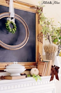 A Green & White Fall Mantel