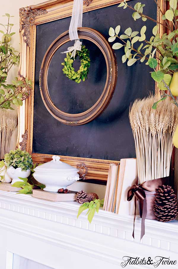 TIDBITS-&-TWINE-Green-and-White-Fall-Mantel