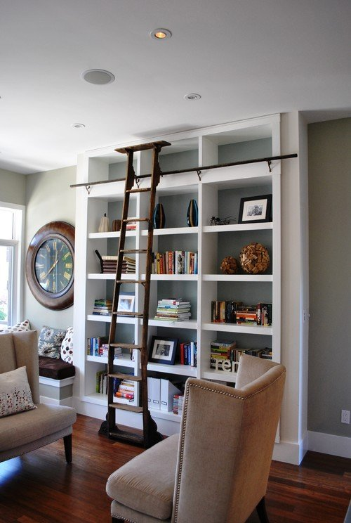 Living Room Library Design Ideas: Library Bookcases With Ladders