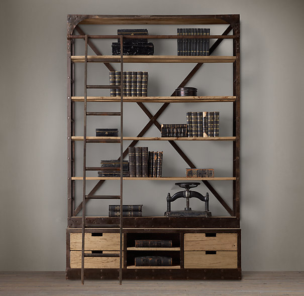 Phenomenal Library Bookcases With Ladders Tidbitstwine Largest Home Design Picture Inspirations Pitcheantrous