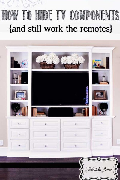 Decoratively Hide TV Components {and Still Work Your Remote}