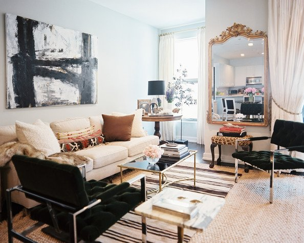 Transitional Mixed Metal Living Room Mix It Up: Metal Finishes
