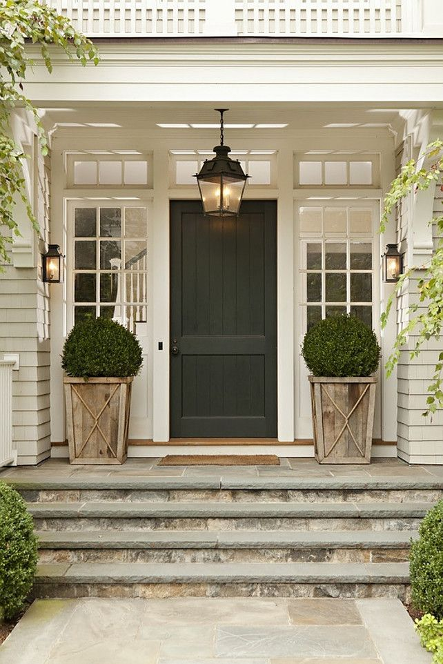 Black Front Door with Lanterns
