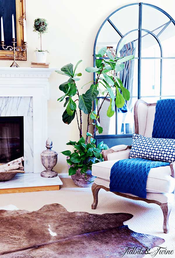 TIDBITS TWINE Cowhide Rug Updates in the Living Room