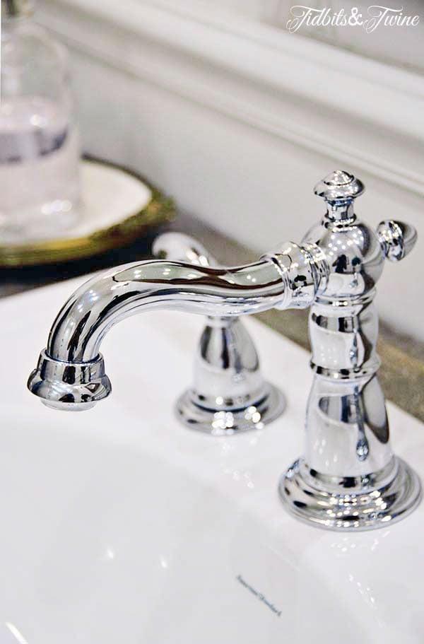 closeup of a chrome vintage style faucet