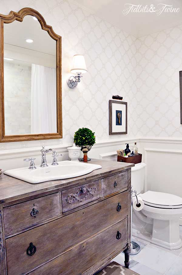 TIDBITS&TWINE Guest Bathroom Remodel with wainscoting and wallpaper