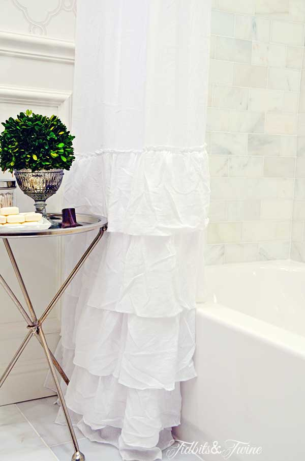 TIDBITS&TWINE Guest Bathroom Remodel - Ruffle shower curtain