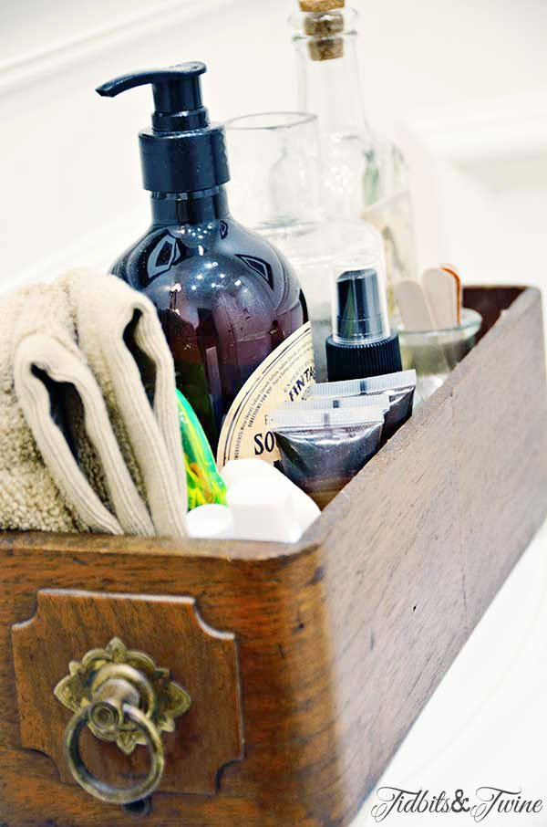 vintage sewing drawer holding bathroom essentials for guests