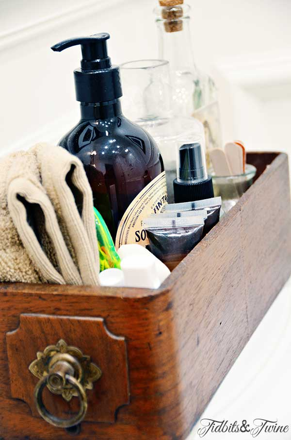 TIDBITS&TWINE Guest Bathroom Remodel - Sewing drawer storage for toiletries