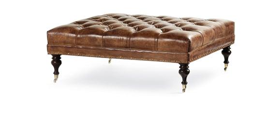 Leather Tuften Ottoman