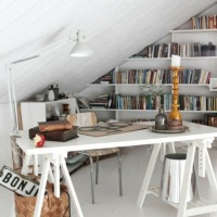 Finished attic office and book nook