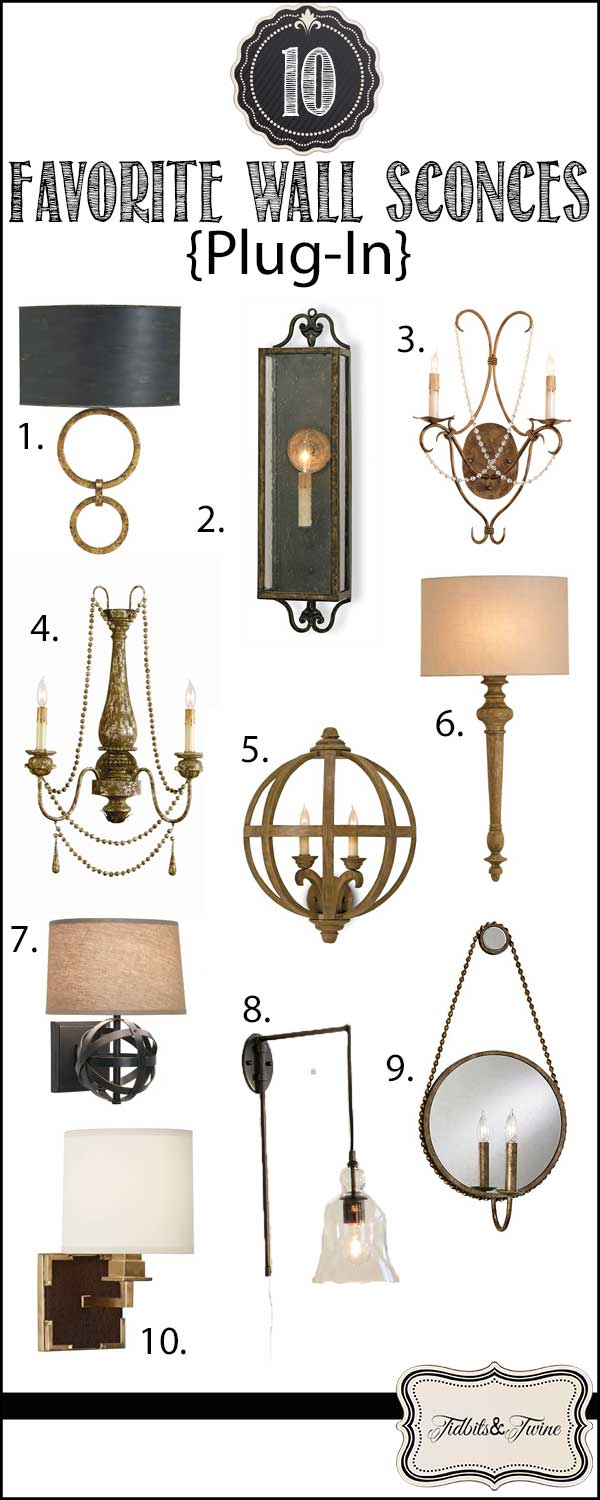 Top 10 Favorite Plug-In Wall Sconces from TIDBITS&TWINE!