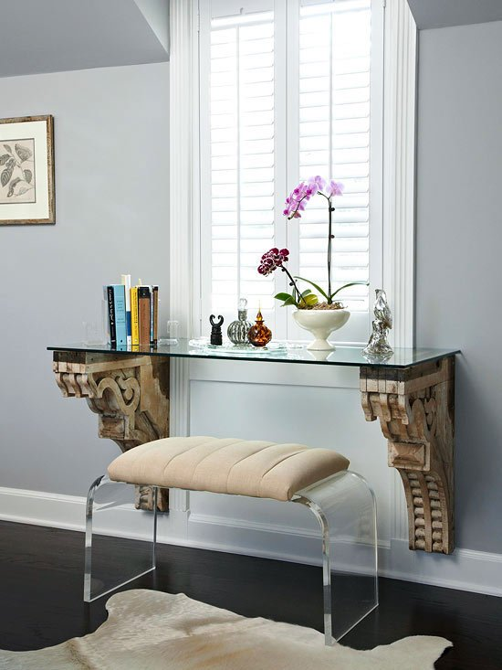 Small space shelves as a desk