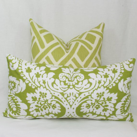 Green pillows with invisible zippers via Joy Workshoppe on Etsy