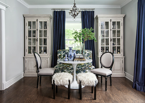 Dining Room with Fur Footstools