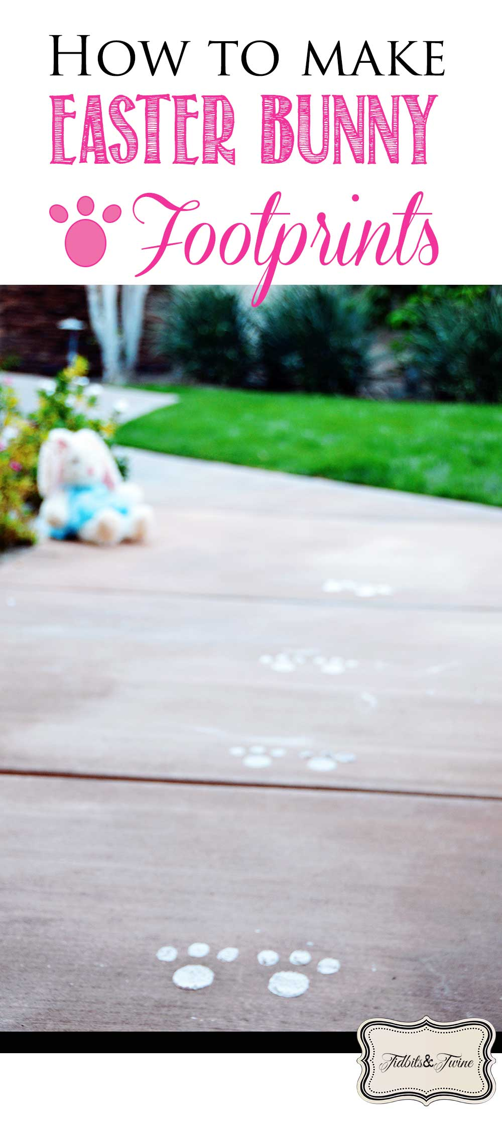 Outdoor image showing magcial easter bunny fooprints on the patio