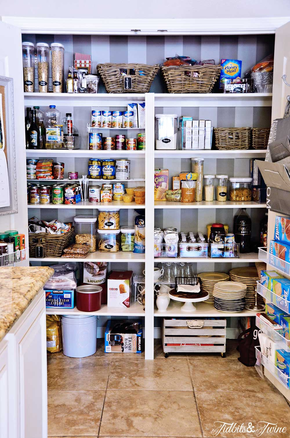 TIDBITS&TWINE Pantry Makeover After with Paint and Wallpaper