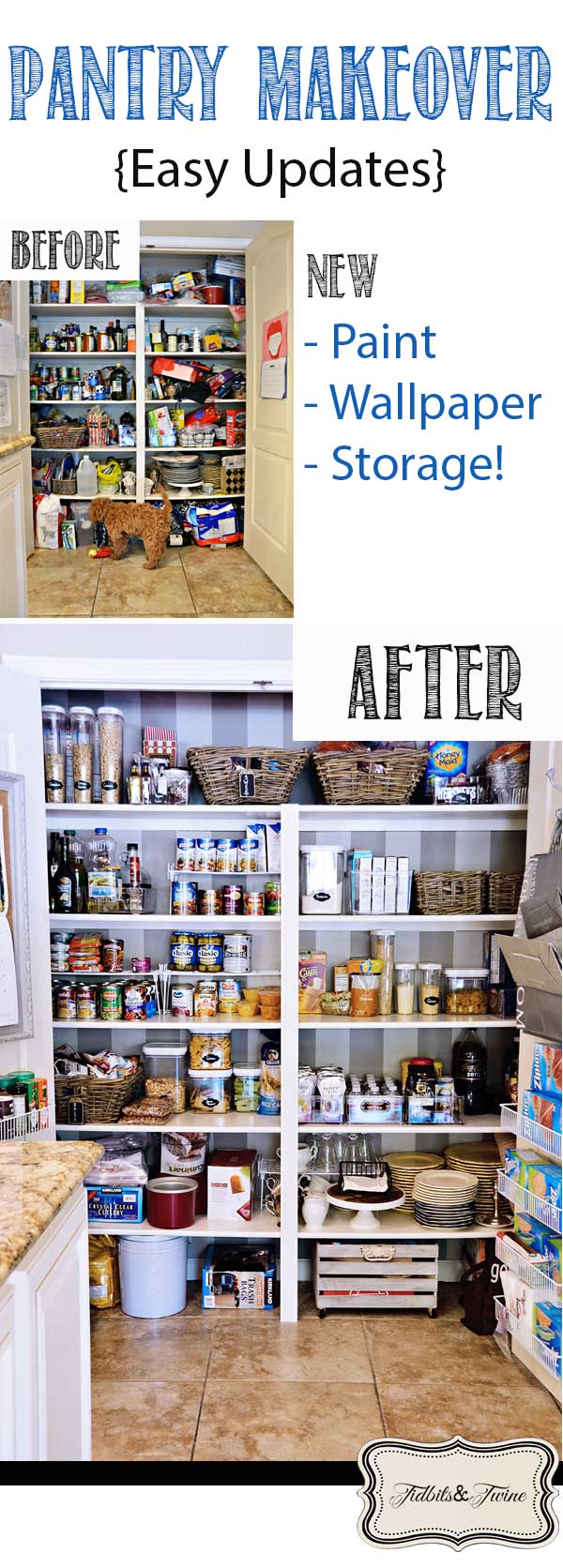 TIDBITS&TWINE Pantry Makeover Before and After