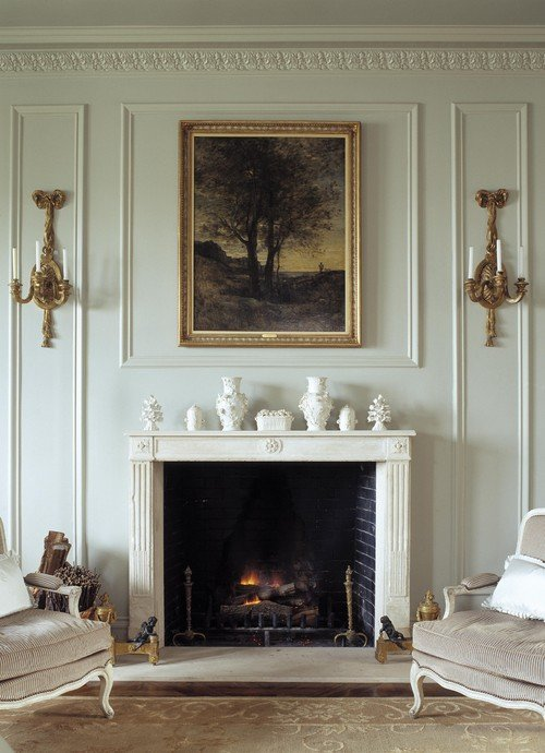 {Traditional Fireplace and Millwork via Chambers & Chambers Architects}