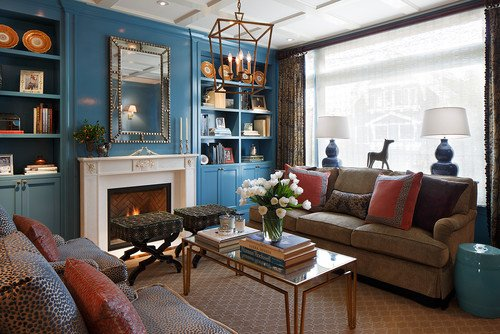{Traditional Colors and Seating Arrangement via Ann Lowengart Interiors}