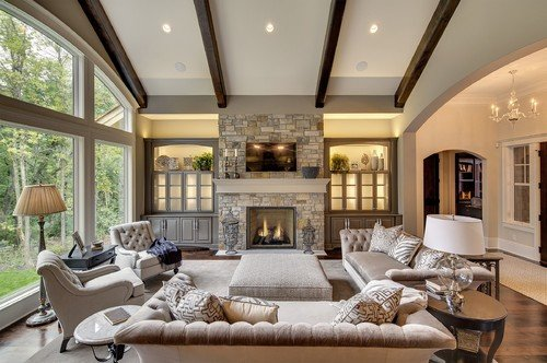 {Transitional Living Room via Susan Hoffman Interior Designs}