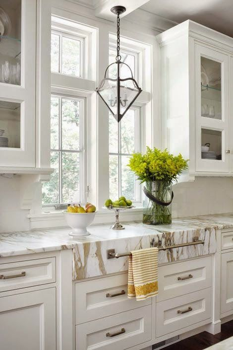 White Kitchen with Calacatta Gold Marble Counter