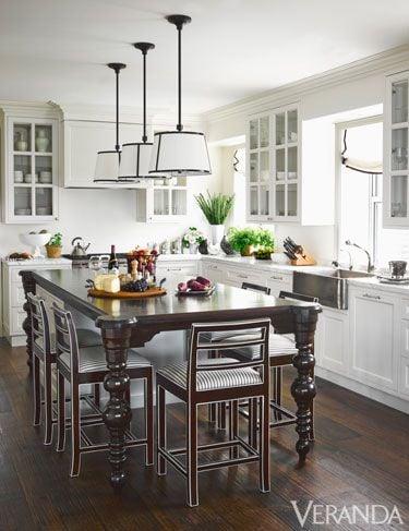 White Kitchen with dark center table