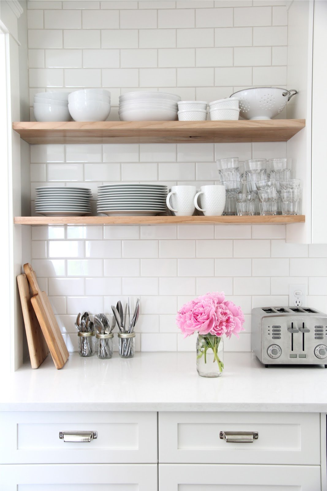 White Kitchen with open shelves via Doug Elissa