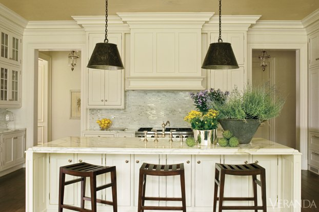 White Kitchen with rustic pendants