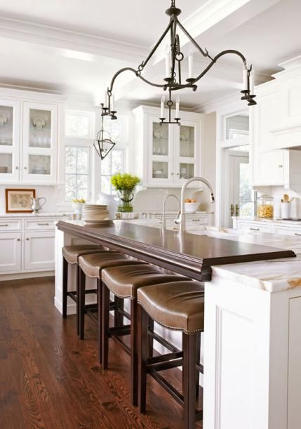 White Kitchen with wood counter