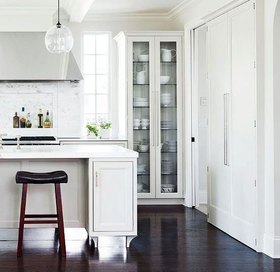 White kitchen with tall cabinet