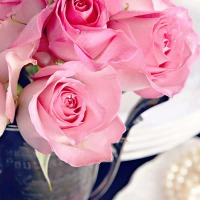 pink roses in an antique trophy with a plate holding a pearl necklace below