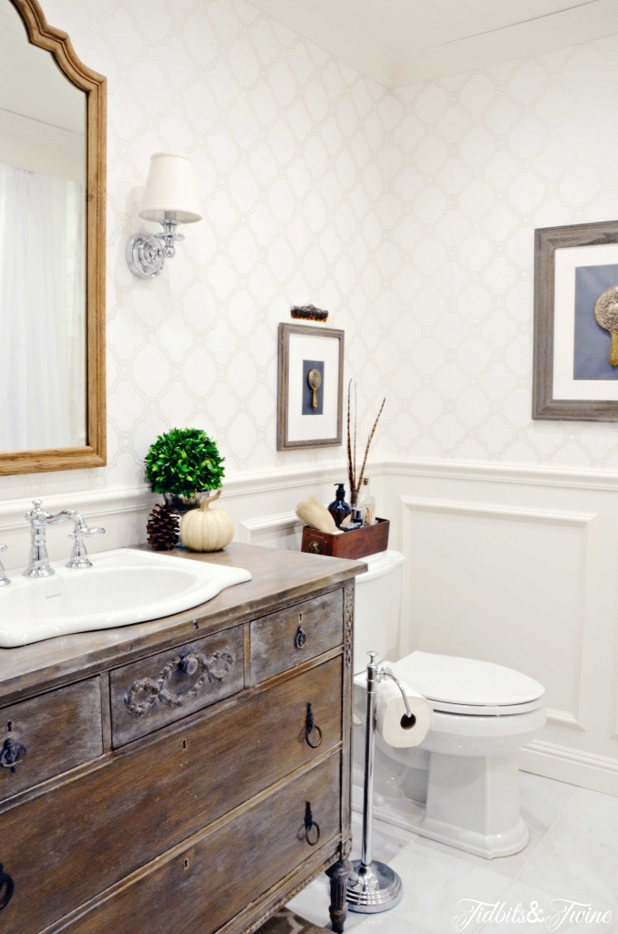 How to Decorate with Antiques - Use a vintage dresser as a bathroom vanity